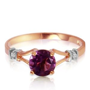 SOLID GOLD RING WITH NATURAL DIAMONDS & AMETHYST